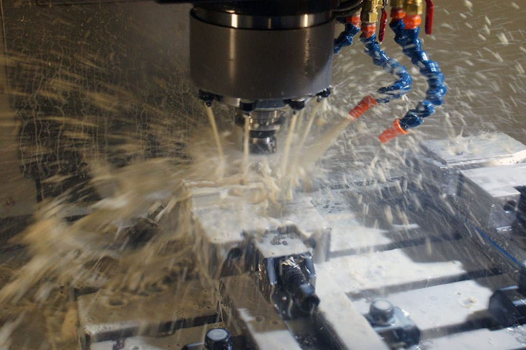 Our leadwell V32-iF in action machining a small part